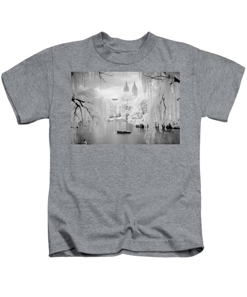 Central Park Lake-infrared Willows Kids T-Shirt
