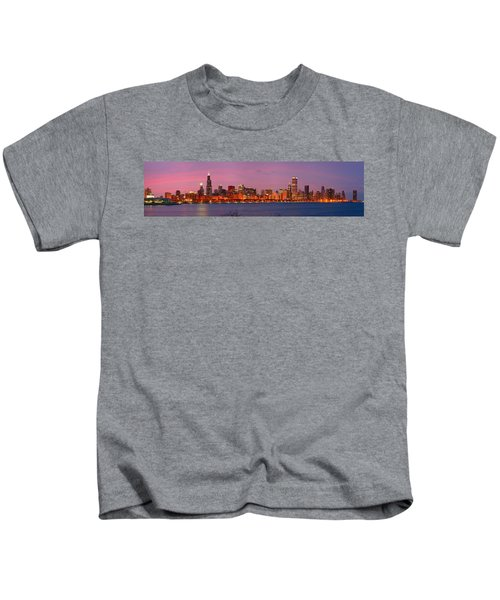 Chicago Skyline At Dusk 2008 Panorama Kids T-Shirt