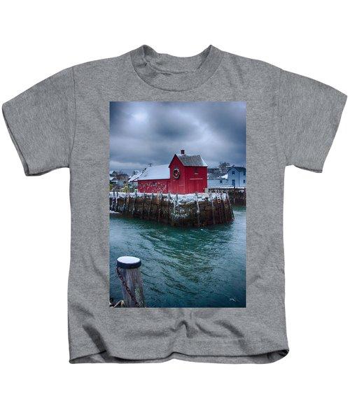 Christmas In Rockport Massachusetts Kids T-Shirt