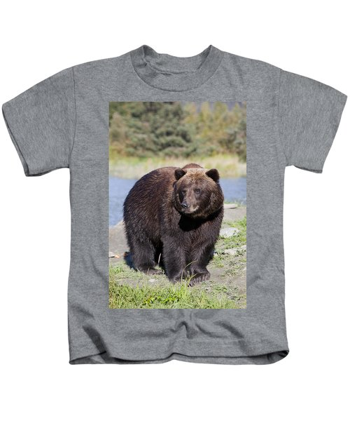Close View Of A Brown Bear Standing At Kids T-Shirt