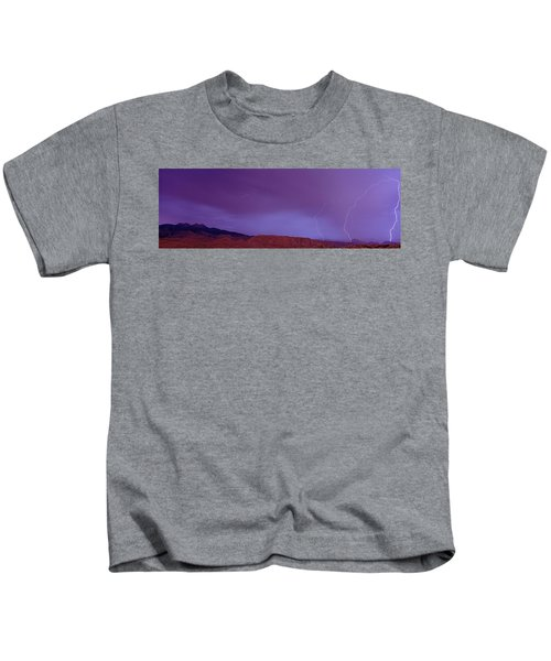 Clouds Lightning Over The Mountains, Mt Kids T-Shirt