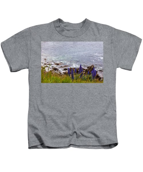 Coastal Cliff Flowers Kids T-Shirt