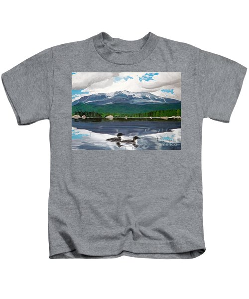 Common Loon On Togue Pond By Mount Katahdin Kids T-Shirt