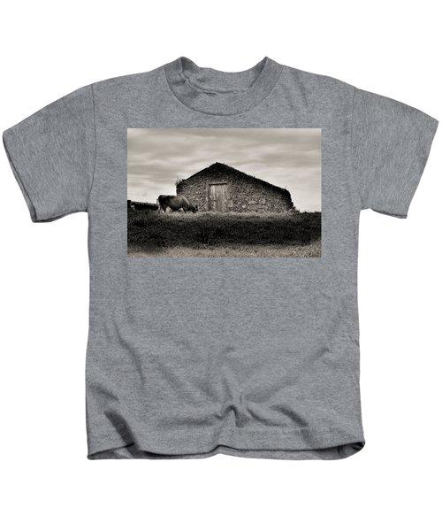 Cow Grazes At Rustic Barn  Kids T-Shirt