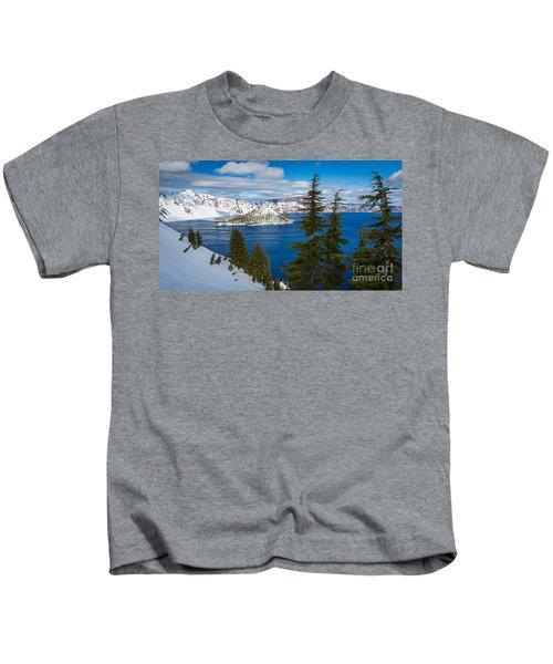 Crater Lake Winter Panorama Kids T-Shirt
