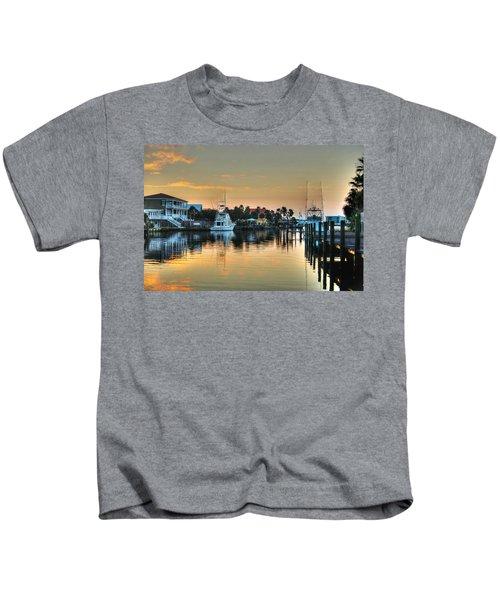 Dawn On A Orange Beach Canal Kids T-Shirt