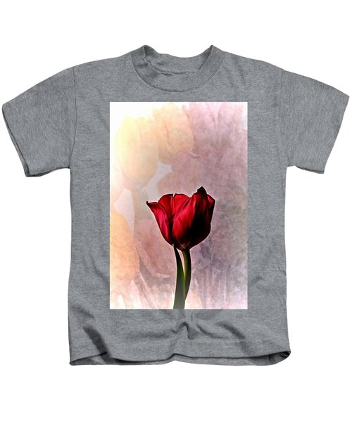 Deep Red Tulip On Pale Tulip Background Kids T-Shirt
