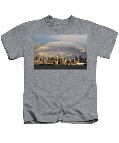 Double Rainbow Over Nyc Kids T-Shirt