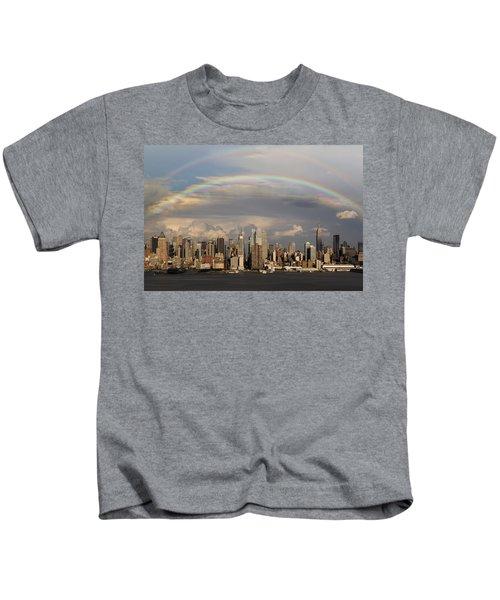Double Rainbow Over Nyc Kids T-Shirt