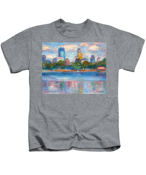 Downtown Minneapolis Skyline From Lake Calhoun II - Or Commission Your City Painting Kids T-Shirt