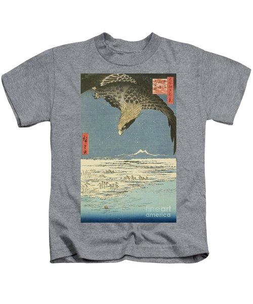 Eagle Over One Hundred Thousand Acre Plain At Susaki Kids T-Shirt