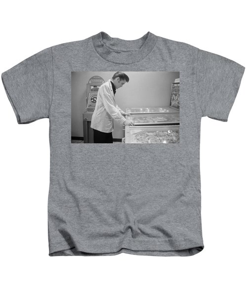 Elvis Presley Playing Pinball 1956 Kids T-Shirt
