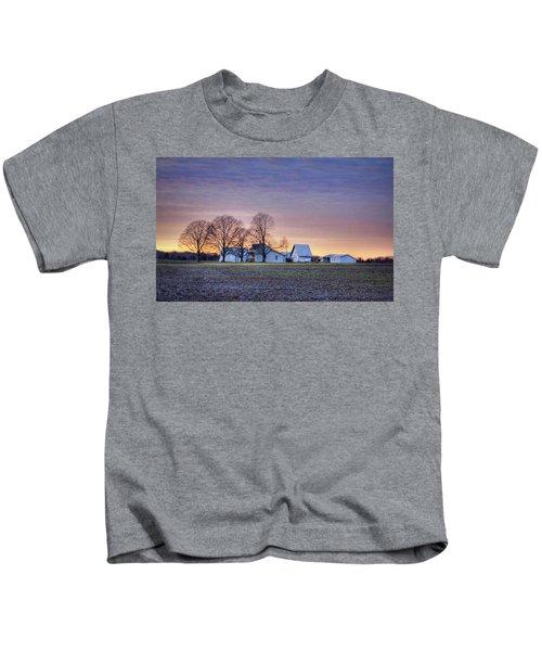 Farmstead At Sunset Kids T-Shirt