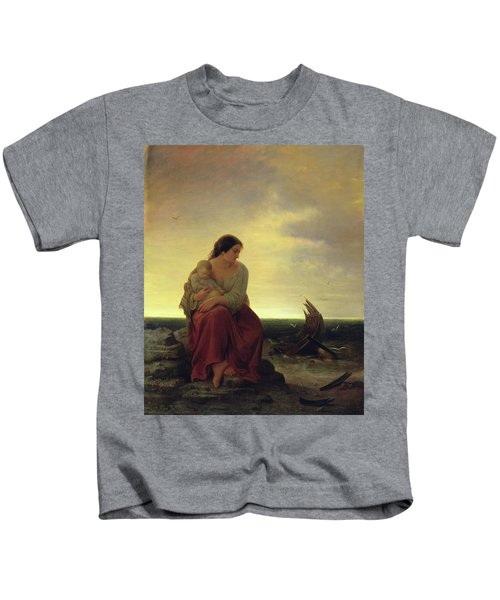 Fishermans Wife Mourning On The Beach Oil On Canvas Kids T-Shirt