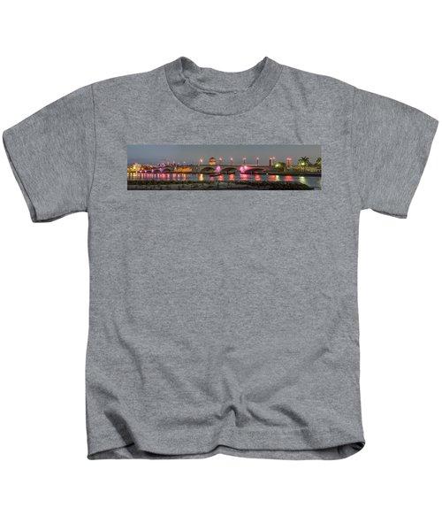 Flagler Bridge In Pink Kids T-Shirt