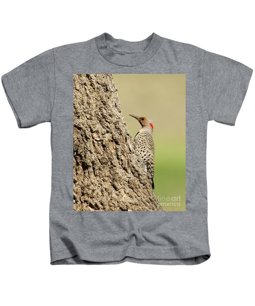 Flicker On Tree Trunk Kids T-Shirt