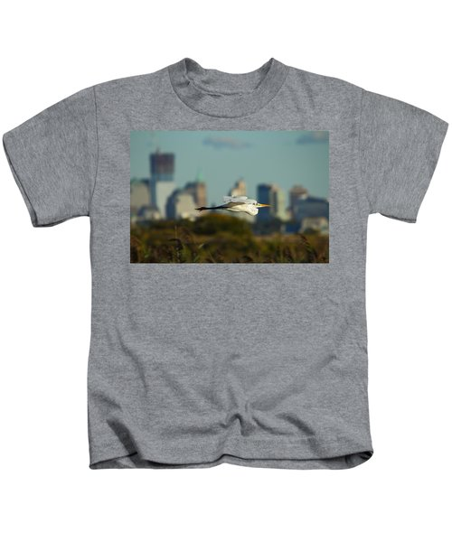 Flight Of The Great Egret Kids T-Shirt
