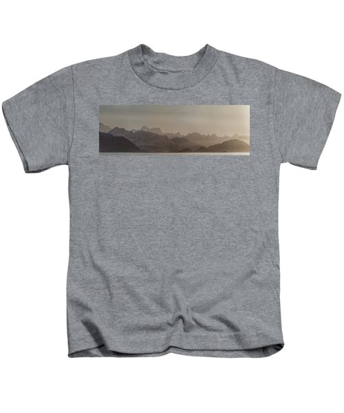 Fog Over Mountain In Glacier Bay Kids T-Shirt