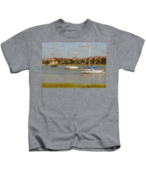 Folly Beach Boats Kids T-Shirt