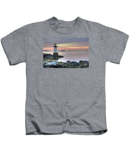 Fort Pickering Lighthouse At Sunrise Kids T-Shirt