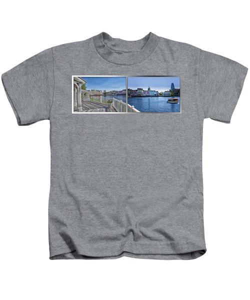 Gazebo 02 Disney World Boardwalk Boat Passing By 2 Panel Kids T-Shirt