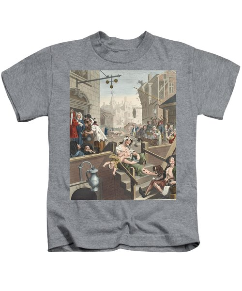 Gin Lane, Illustration From Hogarth Kids T-Shirt