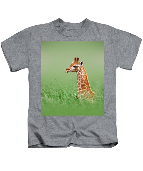 Giraffe Lying In Grass Kids T-Shirt