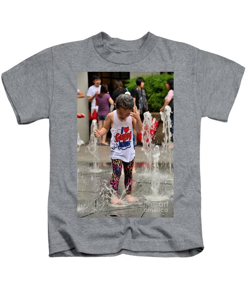 Girl Child Plays With Water At Fountain Singapore Kids T-Shirt