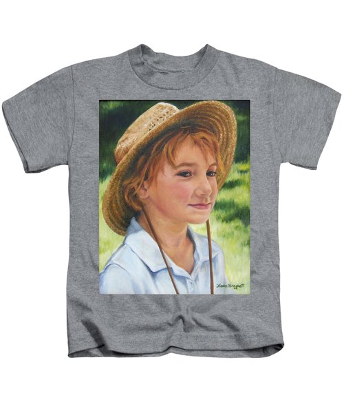 Girl In Straw Hat Kids T-Shirt
