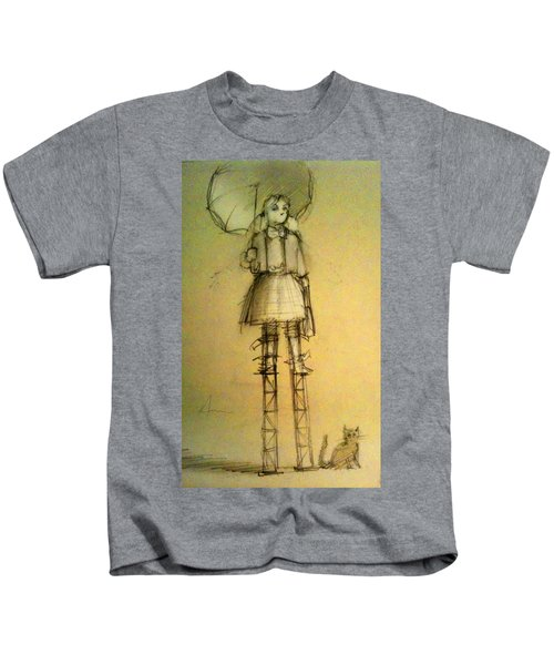 Girl With Umbrella And Cat Kids T-Shirt