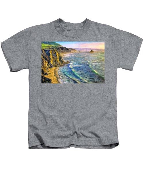 Golden Sunset At Big Sur Kids T-Shirt