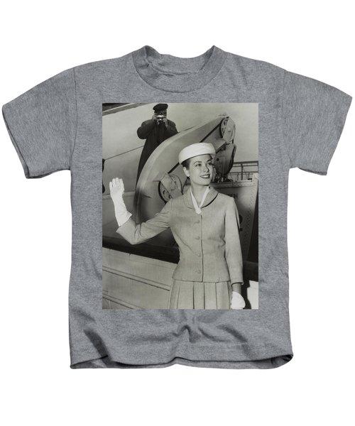 Grace Kelly In 1956 Kids T-Shirt by Mountain Dreams