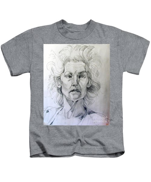Graphite Portrait Sketch Of A Well Known Cross Eyed Model Kids T-Shirt