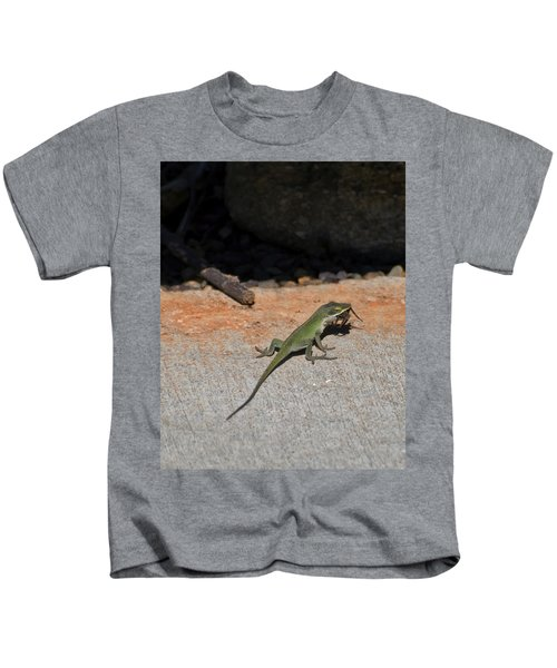 Green Anole Lizard Vs Wolf Spider  Kids T-Shirt
