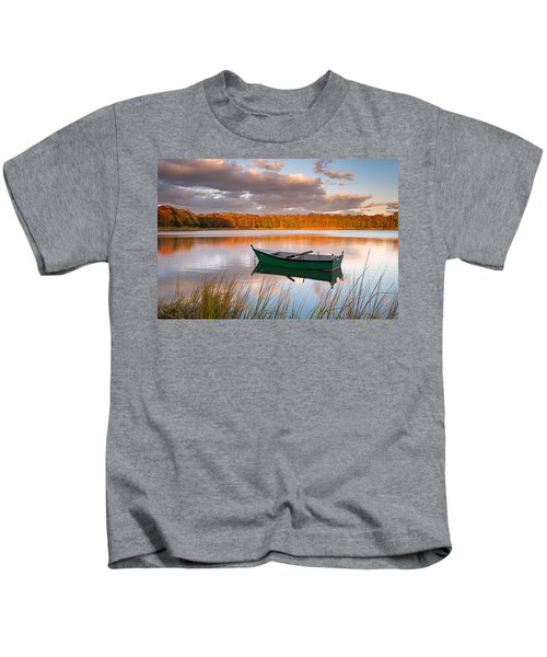 Green Boat On Salt Pond Kids T-Shirt