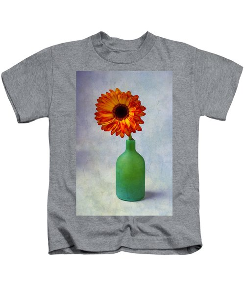 Green Bottle With Orange Daisy Kids T-Shirt