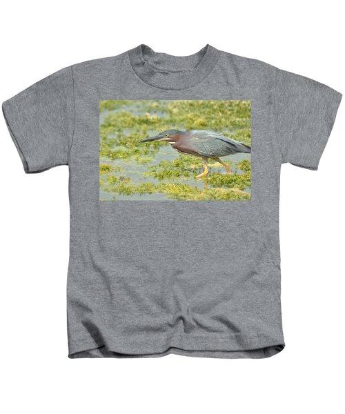 Green Heron On The Hunt Kids T-Shirt
