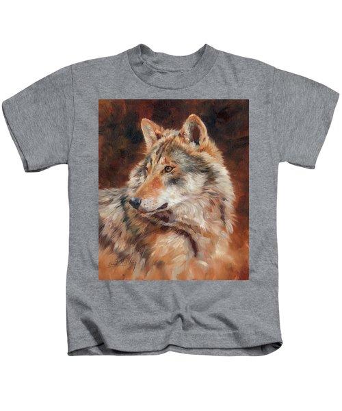 Grey Wolf Portrait Kids T-Shirt