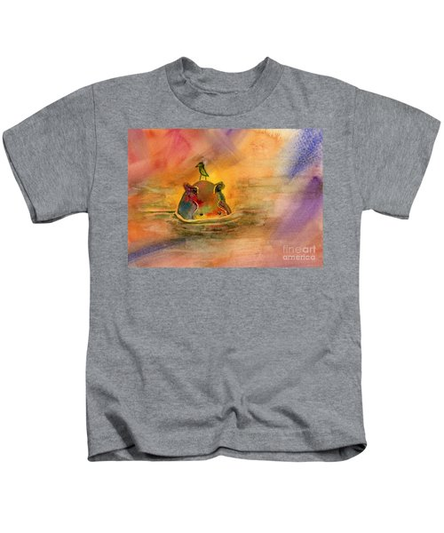 Hippo Birdie Kids T-Shirt by Amy Kirkpatrick