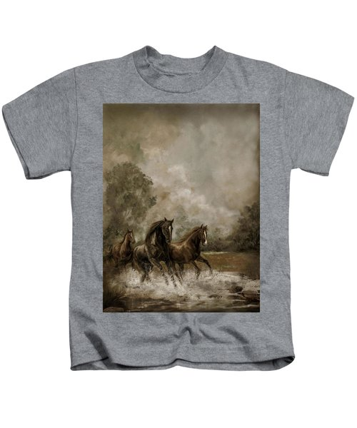 Horse Painting Escaping The Storm Kids T-Shirt