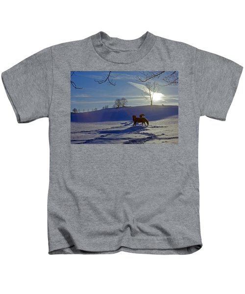 Horses In Snow Kids T-Shirt
