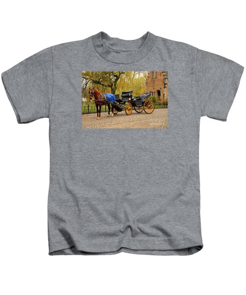 Immaculate Horse And Carriage Bruges Belgium Kids T-Shirt