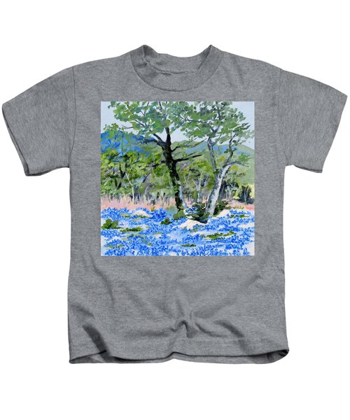 In April-texas Bluebonnets Kids T-Shirt