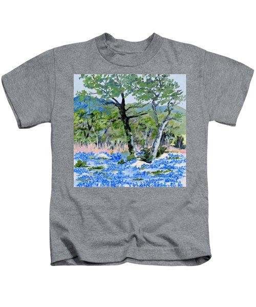 In April-texas Bluebonnets Kids T-Shirt