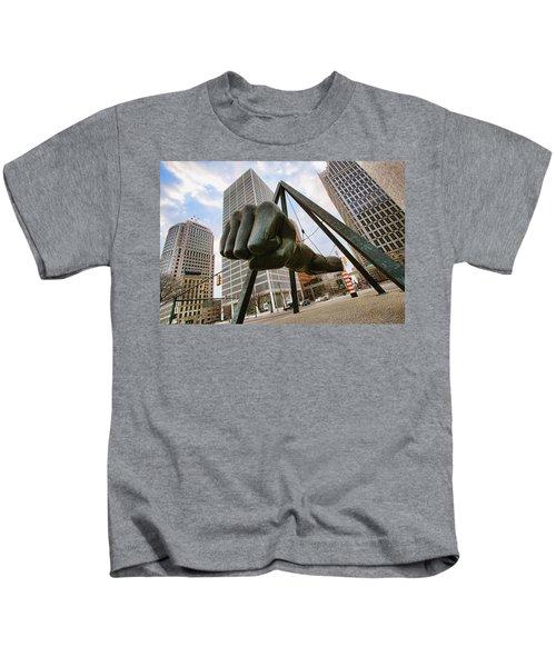 In Your Face -  Joe Louis Fist Statue - Detroit Michigan Kids T-Shirt