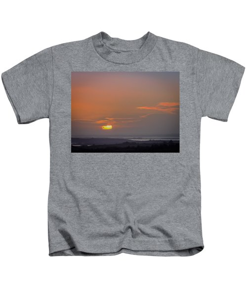 Kids T-Shirt featuring the photograph Irish Sunrise Scattering Light Over Shannon River Valley by James Truett