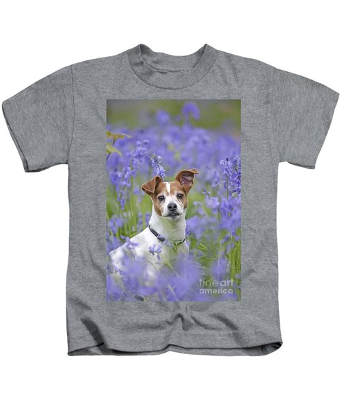 Jack Russell In Bluebells Kids T-Shirt