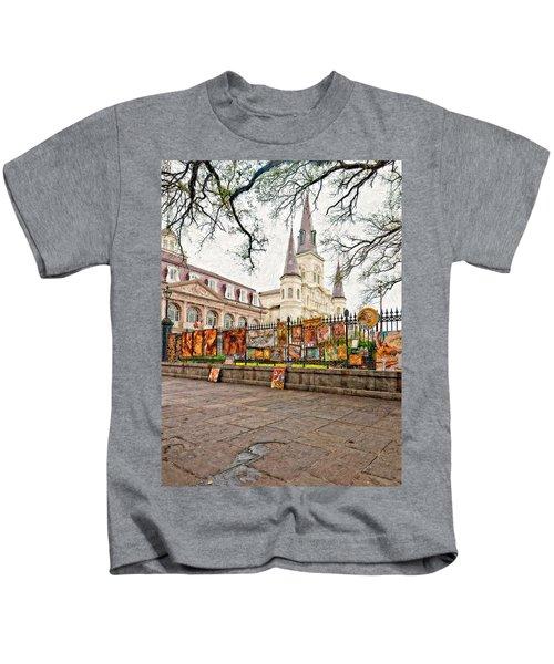Jackson Square Winter Impasto Kids T-Shirt