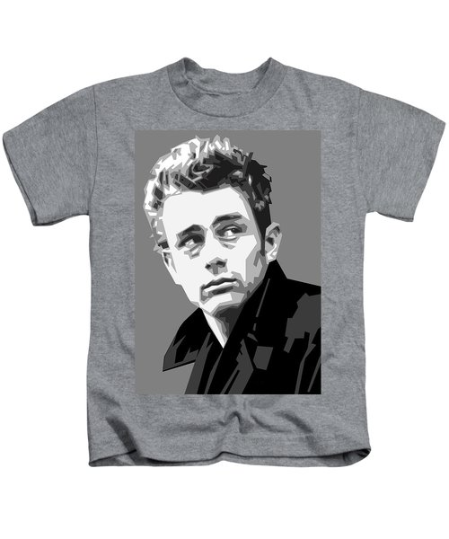 James Dean In Black And White Kids T-Shirt