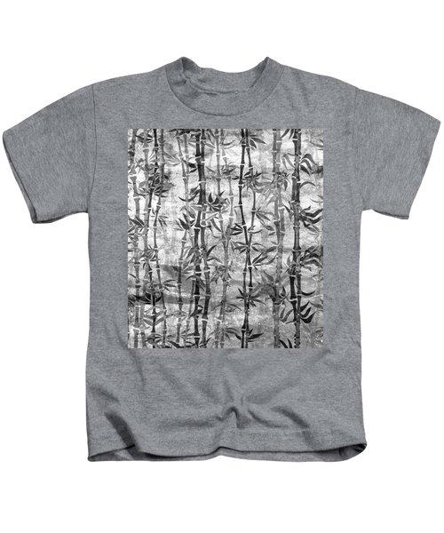 Japanese Bamboo Grunge Black And White Kids T-Shirt